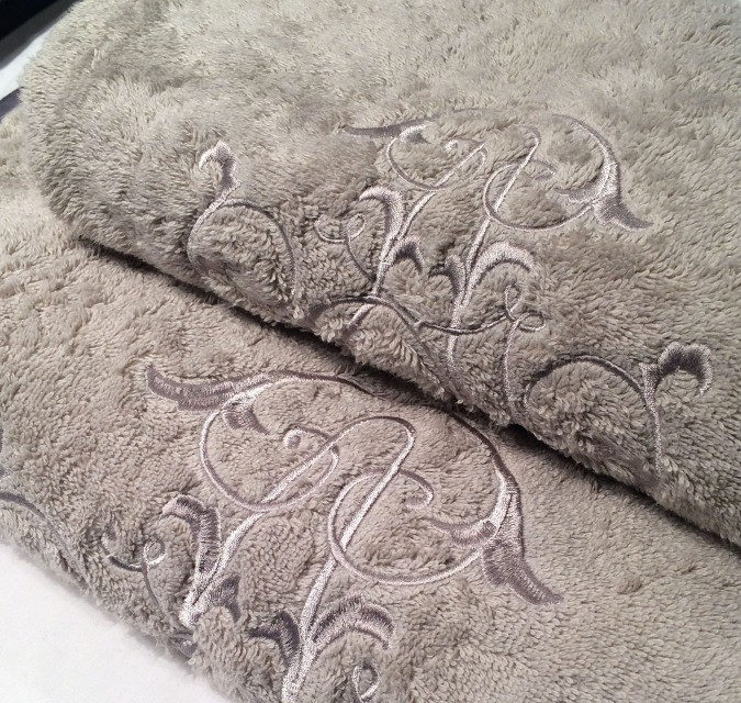 Embroidered toweling